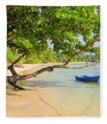 Tropical Island Scenery Fleece Blanket