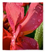 Tropical Rose Canna Lily Fleece Blanket