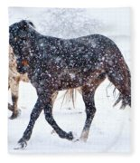 Trotting In The Snow Fleece Blanket