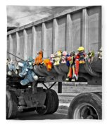 Truck And Dolls With Selective Coloring Fleece Blanket