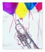 Trumpet Lifted By Balloons Fleece Blanket