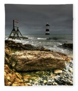Trwyn Du Lighthouse Fleece Blanket