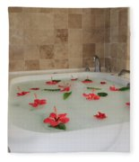 Tub Of Hibiscus Fleece Blanket