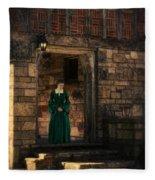 Tudor Lady In Doorway Fleece Blanket