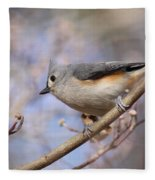 Tufted Titmouse - On The Slope Fleece Blanket
