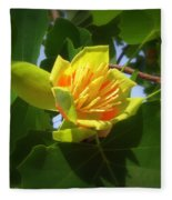 Tulip Poplar Flower Fleece Blanket