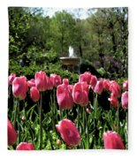 Tulips And Fountain Fleece Blanket