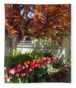 Tulips By Dappled Fence Fleece Blanket