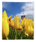 Tulips In A Field And A Windmill At Fleece Blanket