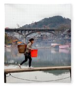 Tuojiang River In Fenghuang Fleece Blanket