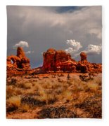 Turret Arch And Storm Clouds Fleece Blanket