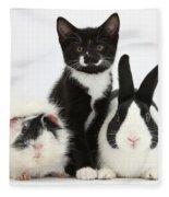 Tuxedo Kitten With Black Dutch Rabbit Fleece Blanket