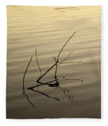 Twigs Breaking The Calm Surface Of The Lake On Sunset Fleece Blanket