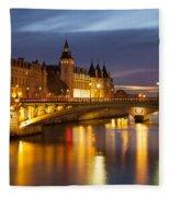 Twilight Over River Seine And Conciergerie Fleece Blanket