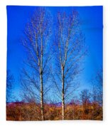 Twin Trees At South Platte Park Fleece Blanket