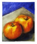 Two Apples With Blue Fleece Blanket