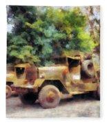 Two Army Trucks Fleece Blanket