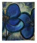 Two Blue Poppies Fleece Blanket