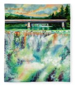 Two Bridges And A Falls 2          Fleece Blanket