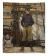 Two Children On Deck Fleece Blanket