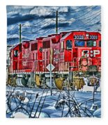 Two Cp Rail Engines Hdr Fleece Blanket