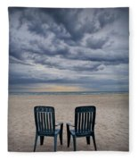 Two Deck Chairs At Sunrise On The Beach Fleece Blanket