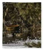 Two Ducks And A Tub Square Fleece Blanket