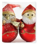 Two Father Christmas Decorations Fleece Blanket