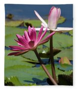 Two Graceful Water Lilies Fleece Blanket