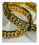 Two Green And Gold Bangles On Top Of Each Other Fleece Blanket