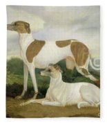 Two Greyhounds In A Landscape Fleece Blanket