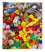 Two Jars Dice And Buttons Fleece Blanket