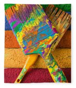 Two Paintbrushes On Paint Rollers Fleece Blanket