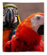 Two Parrots Closeup Fleece Blanket
