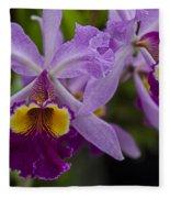 Two Pink Purple Orchids Fleece Blanket