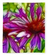 Two Purple Daisy's Fractal Fleece Blanket
