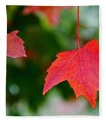 Two Red Maple Leaves Fleece Blanket