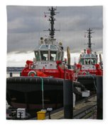 Two Red Tugs Fleece Blanket