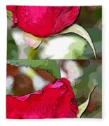 Two Rose Buds Fleece Blanket