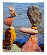 Two Stacks Of Balanced Rocks Fleece Blanket