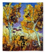 Two Trees In Fall Fleece Blanket