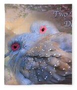 Two Turtle Doves Card Fleece Blanket