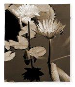 Two Waterlilies Sepia Fleece Blanket