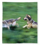 Two Wolves Running Through Meadow Fleece Blanket