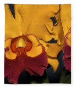 Two Yellow And Red Orchids Fleece Blanket