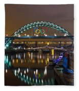 Tyne Bridge At Night Fleece Blanket