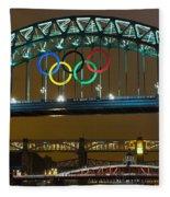 Tyne Bridge At Night II Fleece Blanket