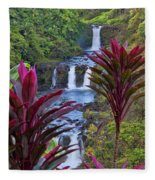 Umauma Falls Big Island Hawaii Fleece Blanket