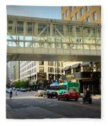 Under The Skywalk - Street Lamp Fleece Blanket