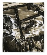 Unidentified Aircraft Diving To Attack A Ship  Fleece Blanket